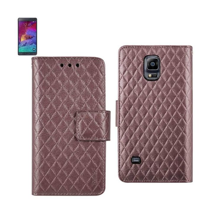 Reiko Wallet Case 3 In 1 For Samsung Galaxy Note 4 Rhombus Pattern Pink