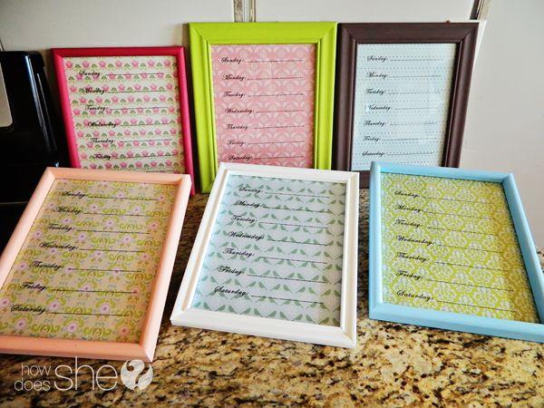 Super cute, inexpensive, DIY Menu Planner! Cute for gifts too!