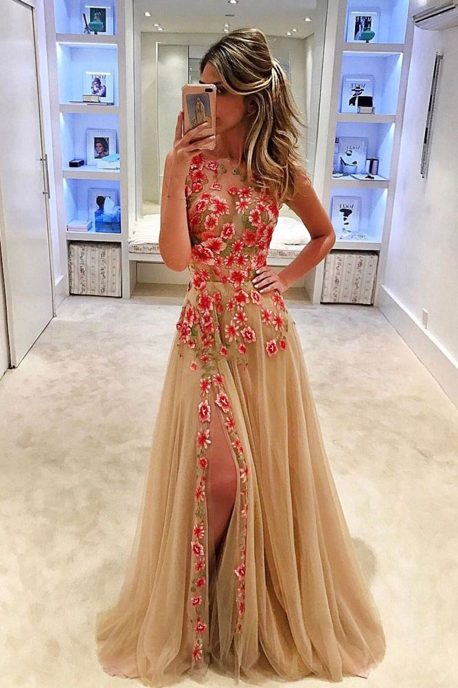 Unique A-Line Round Neck Sleeveless Long Prom Dress with Appliques
