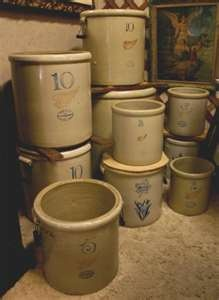 antique crocks (not my collection, though I do have several in my possession....can never have TOO many!)