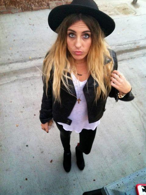 White tee, black leggings, booties, hat. #style