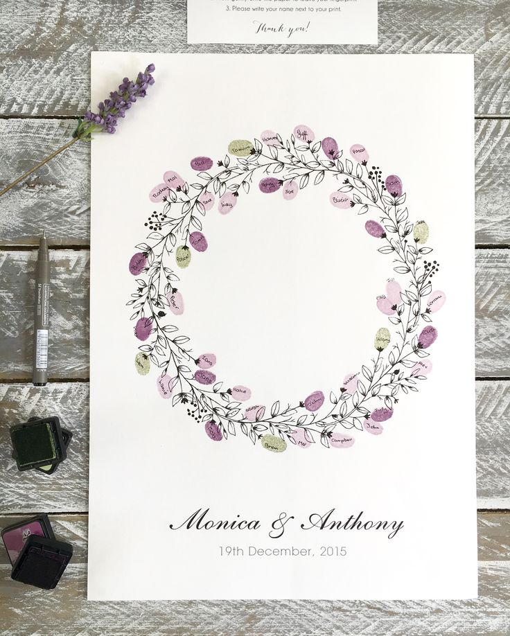Wreath Guest fingerprint guest book for weddings, birthdays, naming days etc. Fingerprint Guest Book