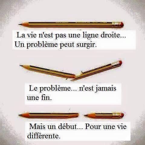 La vie n'est pas une ligne droite, car un problème peut surgir. Le problème n'est jamais une fin, mais un début pour une vie différente. #citation #citationdujour #proverbe #quote #frenchquote #pensées #phrases #french #français