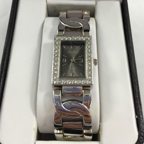 Rumours Watch new New in box new removed. Silver band gray and silver face with rhinestones. May need battery, have never used or removed from box. Rumours Accessories Watches