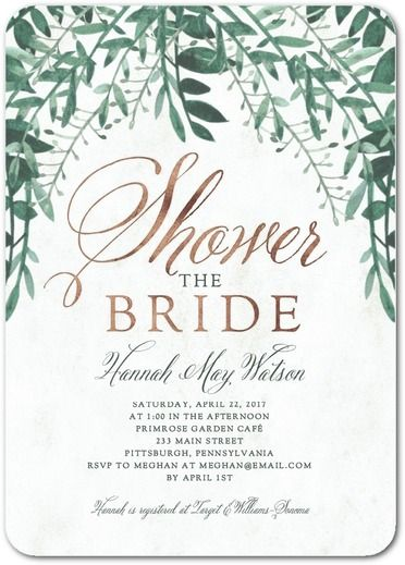 Organic Greenery - Signature White Bridal Shower Invitations - Sarah Hawkins Designs - Willow - Gray : Front