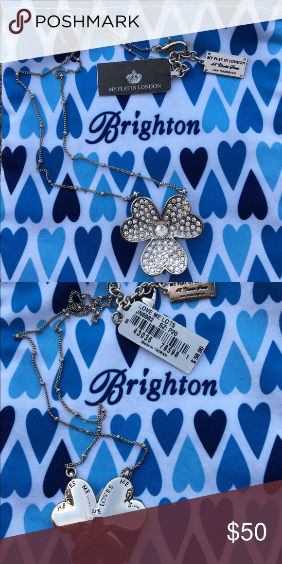 """My Flat In London by Brighton necklace Three leaf clover with one large Swarovski crystal in the middle with small Swarovski crystals on the rest of the clover. The back of the necklace has inscribed """"He loves me he loves me not"""" and My Flat in London abbreviation. In new condition NWT. Brighton Jewelry Necklaces"""