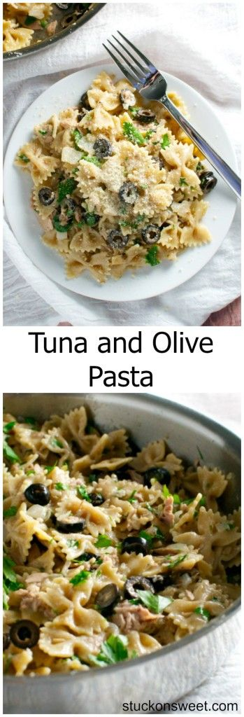 Tuna and Olive Pasta. One pot meal ready in less than 30 minutes! | stuckonsweet.com #CalOlivesMedRecipe