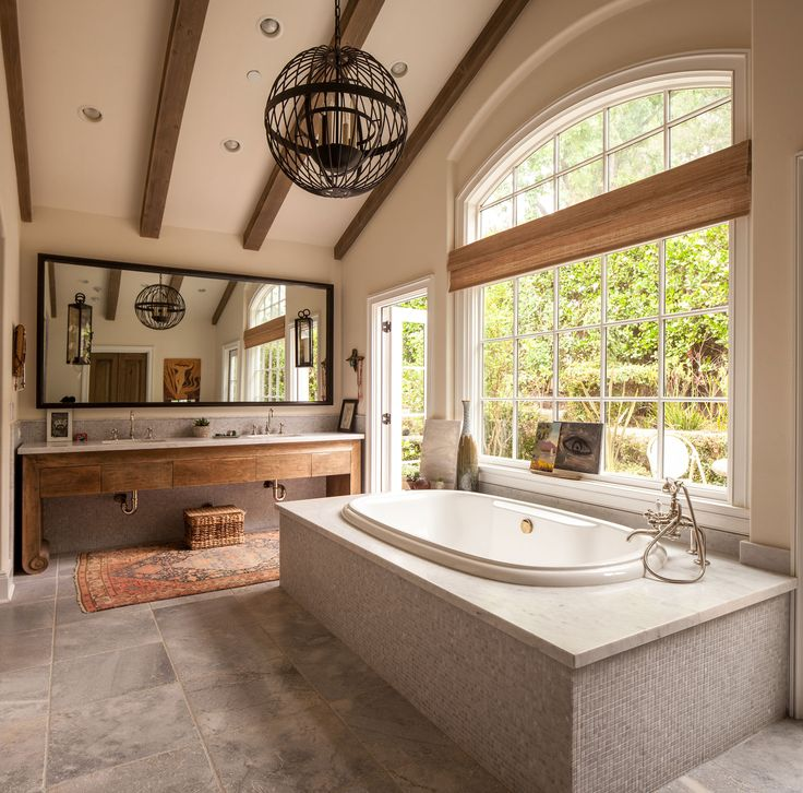 A California Lifestyle Rooted In Tradition. Natural BathroomLarge  WindowsBathing BeautiesBeautiful BathroomsBathroom DesignsBathroom ...