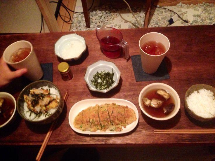 2014.7.21  夜   / シソ納豆エノキの厚焼き卵焼き  椎茸とミョウガのお吸い物  冷たい焙じ茶