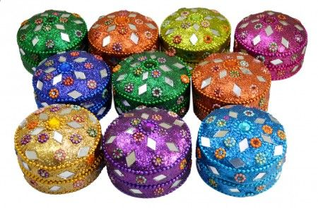 Buy A Set of 10pcs Jewelry Boxes Home Decor Mirror Work,beaded Fashionable Multi Color Jewellery Boxes Online - Jewelry Boxes