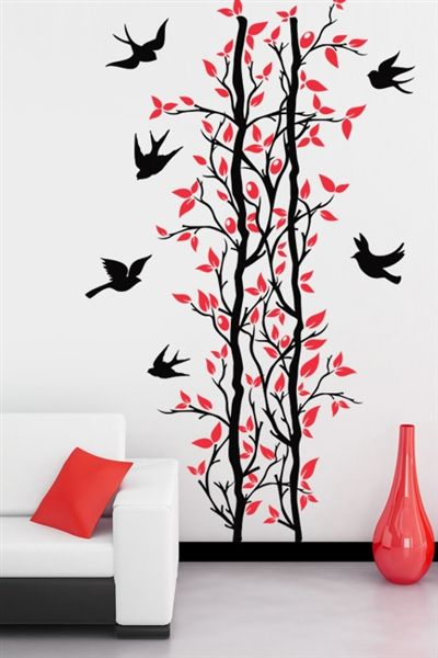 Branch with Flying Birds- natural wall art design ideas