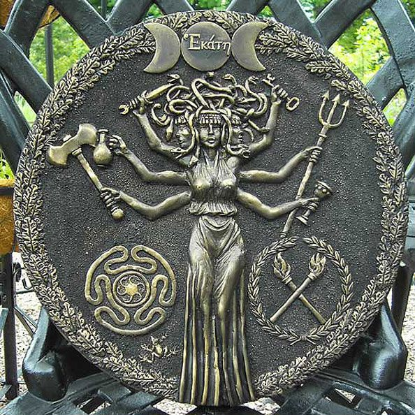 Hekate is a Greek goddess, most often shown holding two torches or a key & in later periods depicted in triple form, associated with crossroads, entrance-ways, dogs, light, the moon, magic, witchcraft, knowledge of herbs & poisonous plants, necromancy, & sorcery. In post-Christian writings regarded with rulership over earth, sea & sky, & universal role as Mother of Angels, worshiped in Athenian households as protective goddess who bestowed prosperity & daily blessings on the family.