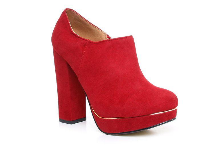 Czerwone botki platforma #red #pumps # #botki #obuwie #jesień