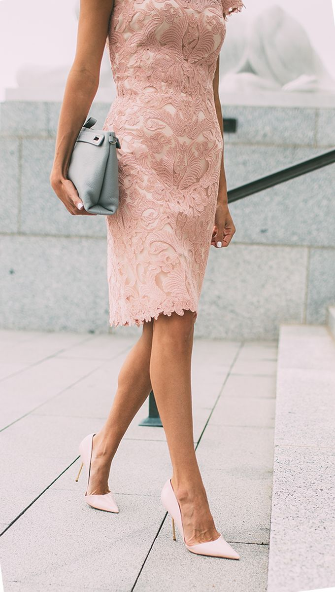 blush lace. event outfit