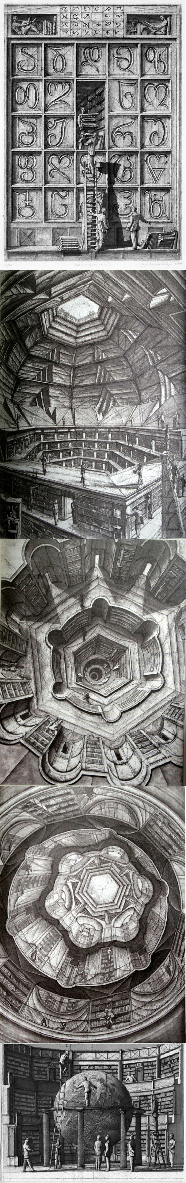 Etchings for Jorge Luis Borges Library of Babel.... Erik Desmazières