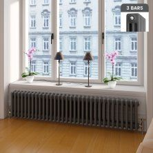 300x1458mm Anthracite Triple Panel Horizontal Colosseum Traditional Radiator