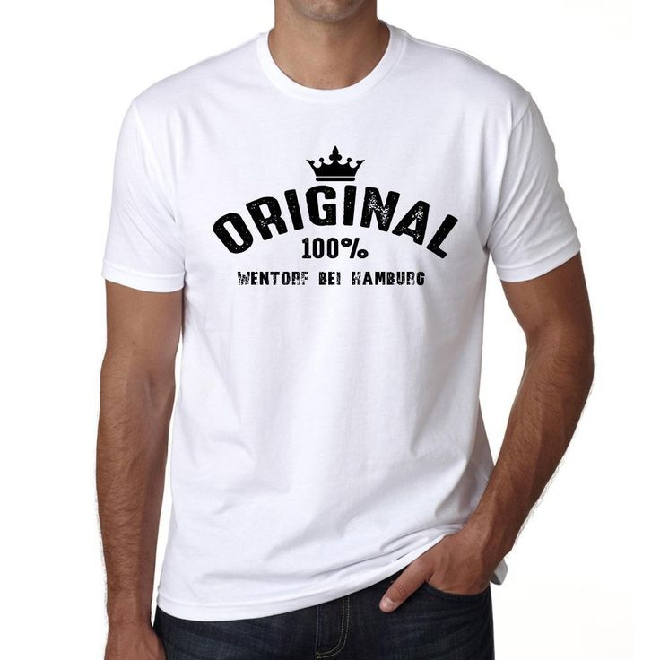 wentorf bei hamburg, 100% German city white, Men's Short Sleeve Rounded Neck T-shirt