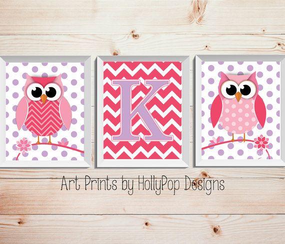 Cute woodland Owls Nursery Decor-Pink Purple Wall Art for Girls-Baby Girl Nursery Decor