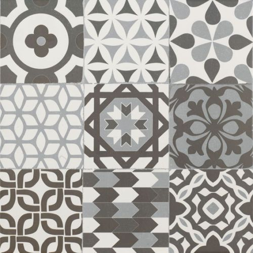 Gaudi-Black-amp-White-Patchwork-Victorian-Encaustic-Porcelain-WALL-amp-FLOOR-TILES