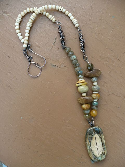 Messy-wrapped links, textures, color. Note attachment to pendant - dual rings rather than strung through.