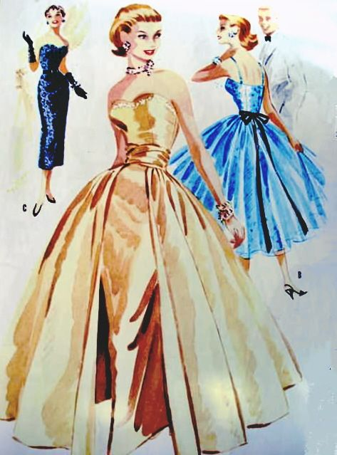 1950s DRAMATIC EVENING SHEATH DRESS GOWN, DETACHABLE OVERSKIRT PATTERN STRAPLESS VERSION PURE GLAM McCALLS 3439