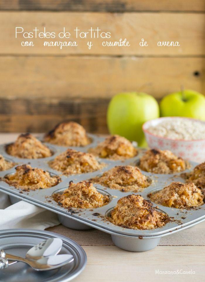 Manzana&Canela: Pasteles de tortitas con manzana y crumble de aven...