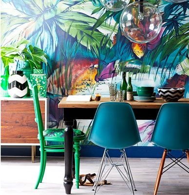 Tropical colours Mural / Expression Collection/ Real Living Magazine. Styling: Sarah Ellison. Photo: Nick Scott.