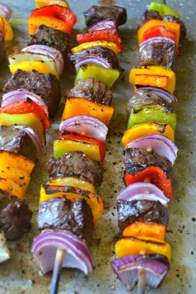 Steak Fajita Skewers with Cilantro Pesto