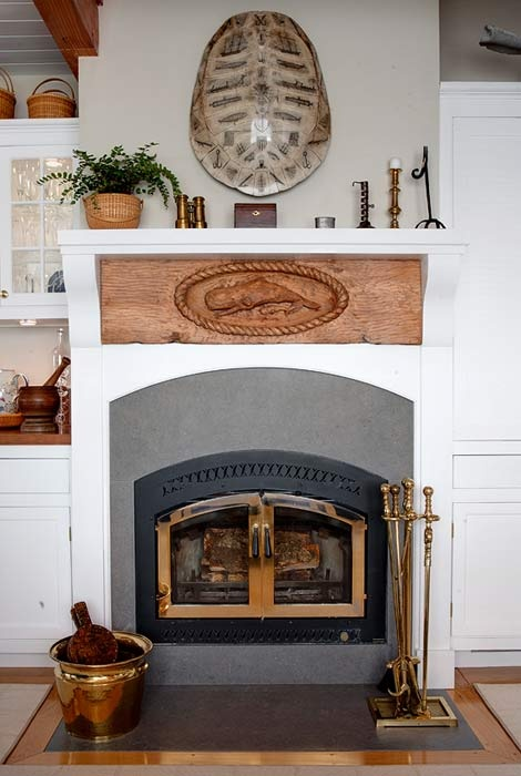 fireplace styling! Nantucket Summer Home  by Trudy Dudjardin: Nantucket Summer, Fireplaces, Fireplace Mantels, Cape Cod Nantucket, Eco Friendly, Homes, Whale, Design