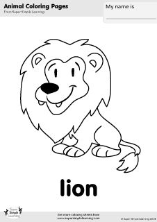 free lion coloring page from super simple learning tons of free zoo animal worksheets and. Black Bedroom Furniture Sets. Home Design Ideas