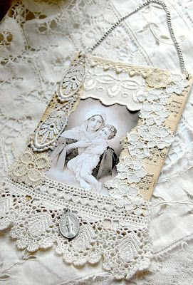 Madonna and Child collage wall hanging, handcrafted on small canvas board with vintage lace, chain, religious medal, and sheet music