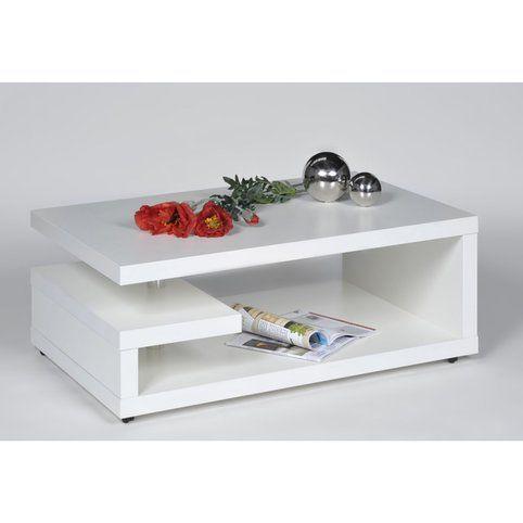 Table basse moderne à roulettes - Blanc- Vue 1