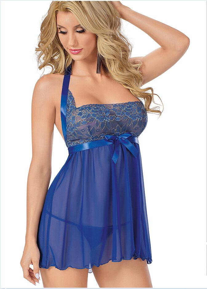 Sexy Women Lace Babydoll Bra Lingerie Sleepwear Pjs Mini Dress Playsuit UK 8-14   OK Fashion