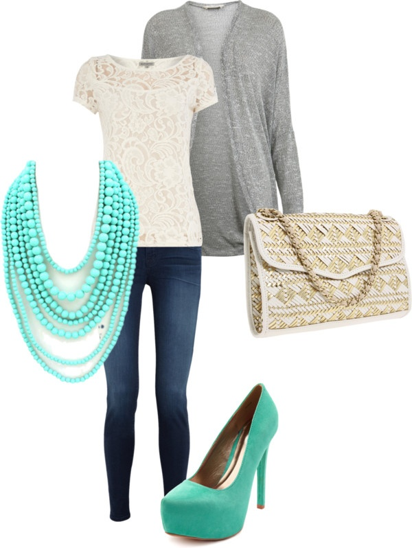 The necklace makes this outfit.: Cardigans, Colors Combos, Dreams Closet, Jeans Outfits, Mint Shoes Outfits, Modest Fashionista3, Casual Outfits, Aqua Or Teal Colors Outfits, Bags