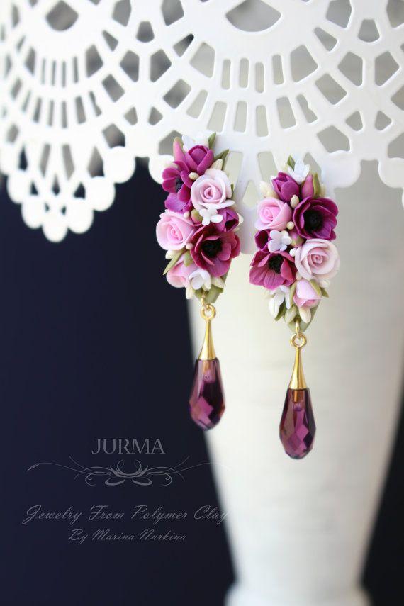 Anemone viola e Rose rosa fiore orecchini con Svarowski di Jurma