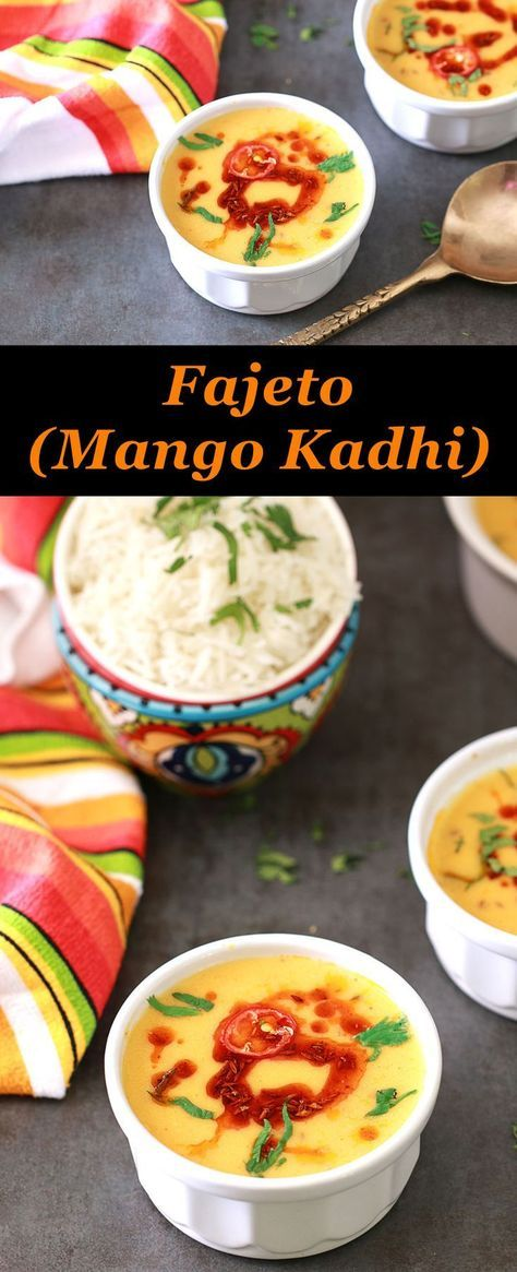 Mango Kadhi / Fajeto is a Gujarati dish made with yogurt and chickpea flour. One of the most famed dish done during summer in every Gujarati home is called Fajeto. It is tangy, hot, sweet and simply delicious. I sometimes wonder if delicious is enough to describe this dish.