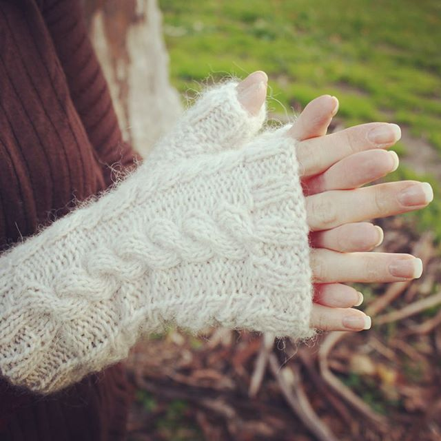 Cabled mohair fingerless mittens by In2twine