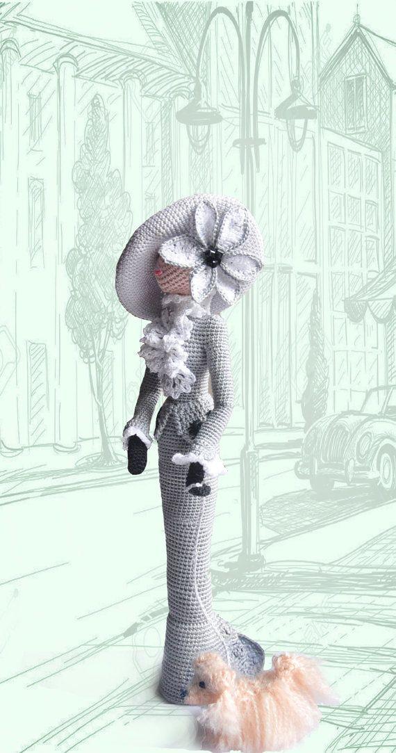 Muñeca del arte del paño, muñeca de trapo, decorativas ganchillo muñeca Lady doggy idea de regalo para la niña y la mamá, ooak amigurumi muñeca