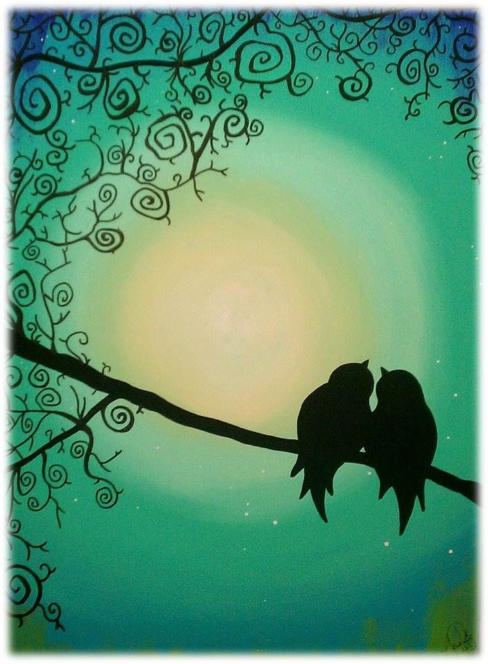 """Artist: Jennifer Prouty - """"24x36"""" acryic on stretched canvas Sweet Love Birds is one of my first canvas pieces that has become a staple for 917 Creations. I mix my own acrylic paint from a mixture of oil and acrylic base colors. No colors are duplicated on any picture that I create."""""""