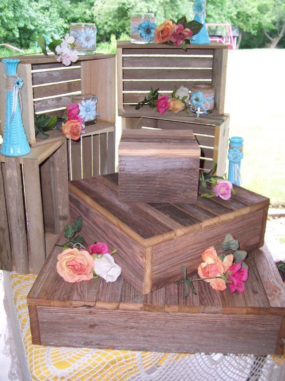 Rustic Cupcake stand wedding decorations reception 3 Tier Cake Box Stand Barn wood country outdoor reception on Etsy, $115.00