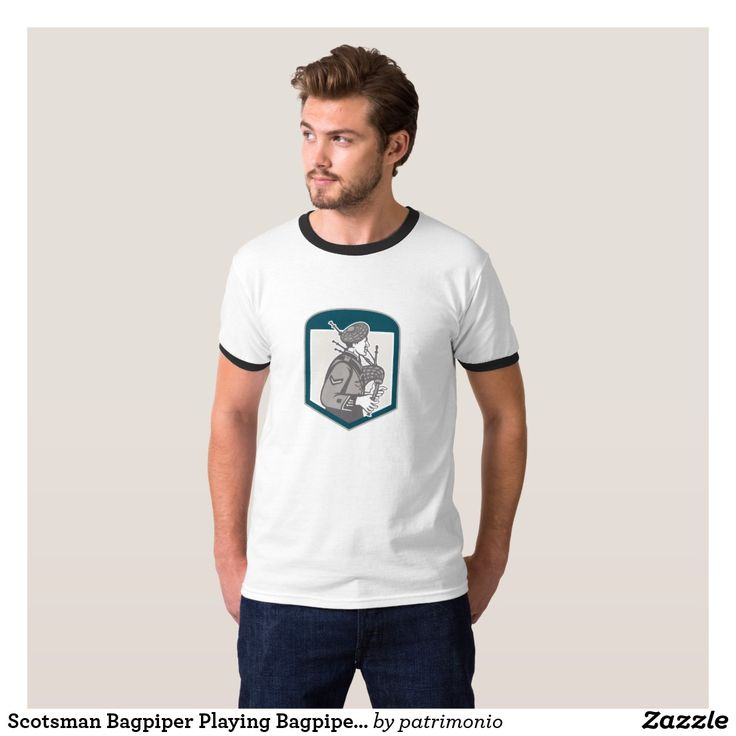 Scotsman Bagpiper Playing Bagpipes Crest Retro T-Shirt.Totally customizable t-shirt for men with a retro woodcut style illustration of a Scotsman playing the bagpipes viewed from the side set inside a shield. #bagpipes #scotsman #tshirt