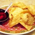 Wantan Relleno de berenjenas y pollo y salsa de tamarindo casera