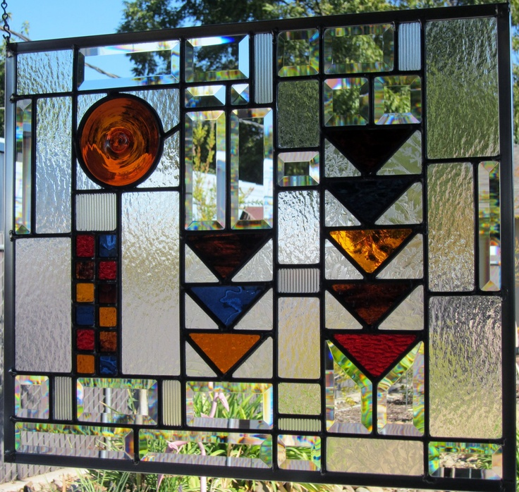 Mission/Prairie Stained Glass Window With Amber By DebsGlassArt