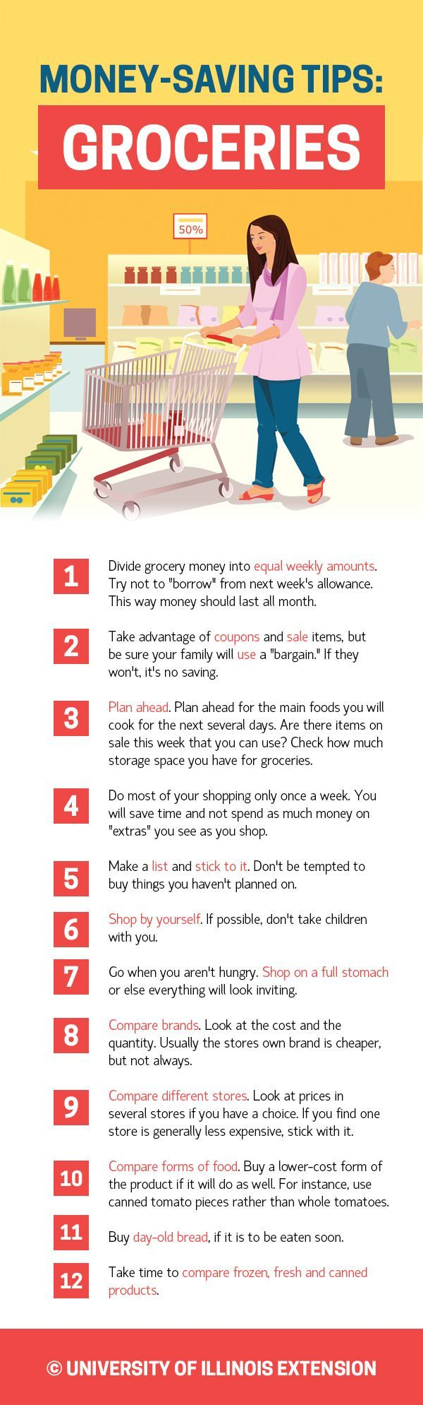 Make sure you use these tips when grocery shopping. | Pass One Hour Heating & Air Conditioning | (618) 997-6471 | www.passonehour.com