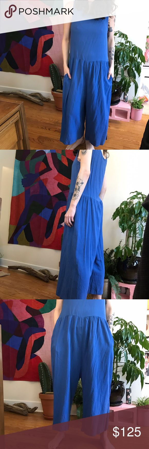 Super cute vintage linen jumpsuit --Beautiful wide leg linen and cotton jumper. Perfect for  the spring and summer.                                                     --Purchased at a Seattle consignment store, but don't wear it nearly enough as it should be worn! 🌞.             --Reminds me of the Ilana Kohn jumpsuit.                        --Small fraying in one spot pictured                                  --Pit to pit measurement 16inches ✨ Vintage Pants Jumpsuits & Rompers