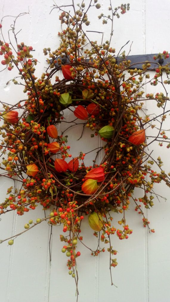 Bittersweet Wreath with Orange Japanese Lanterns by scarletsmile, $63.00 omg I love this