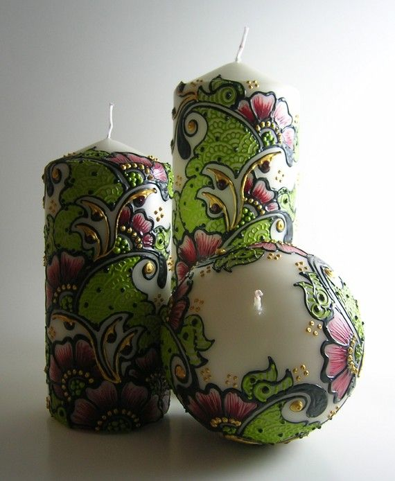 Beautiful Painted Candles