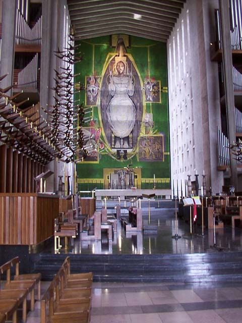 The world's largest tapestry in Coventry Cathedral, England, designed by Graham Sutherland who was born on this day 24th August 1903