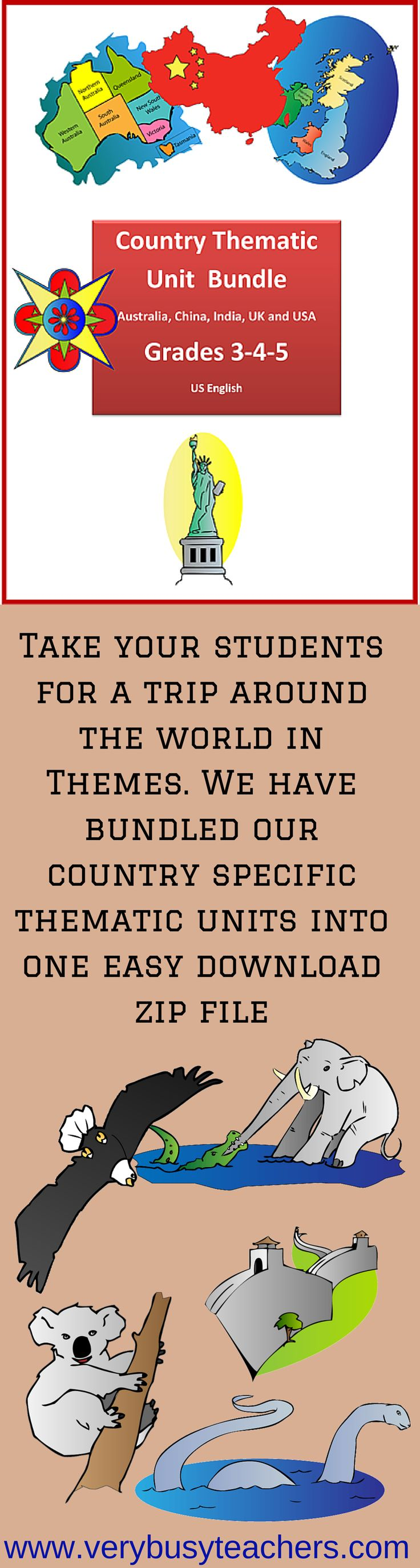 This bundled resource contains the following files: Australia Thematic Unit Grades 3-4-5 China Thematic Unit Grades 2-3 China Thematic Unit Grades 4-5 India Thematic Unit Grades 3-4-5 United KingdomThematic Unit Grades 3-4-5 United States Thematic Unit Grades 3-4-5 http://www.teacherspayteachers.com/Product/Country-Thematic-Units-Bundle-for-Grades-3-4-5-977334