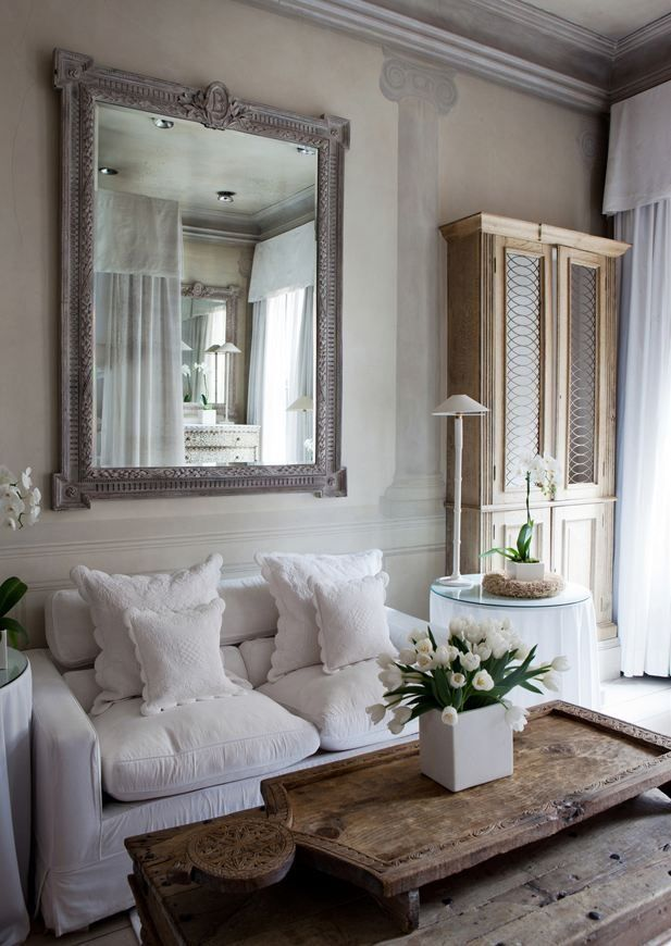 DIY:: Rustic French Country Cottage Decor Ideas ! These are Beautiful ! Love the mirror and coffee table.